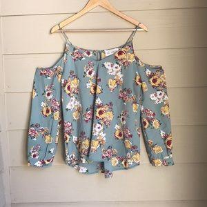 Cold shoulder floral blouse